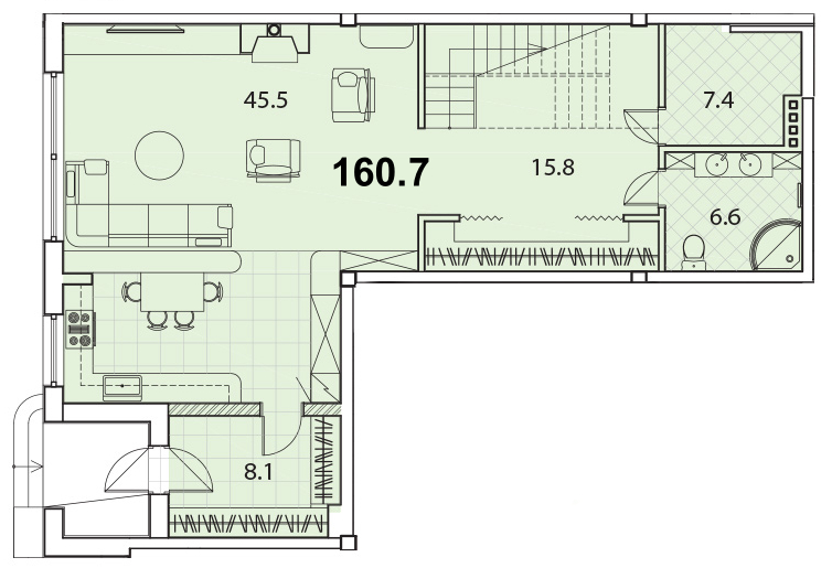 Планировка Двухкомнатная квартира площадью 160.7 кв.м в ЖК «Кантеле»